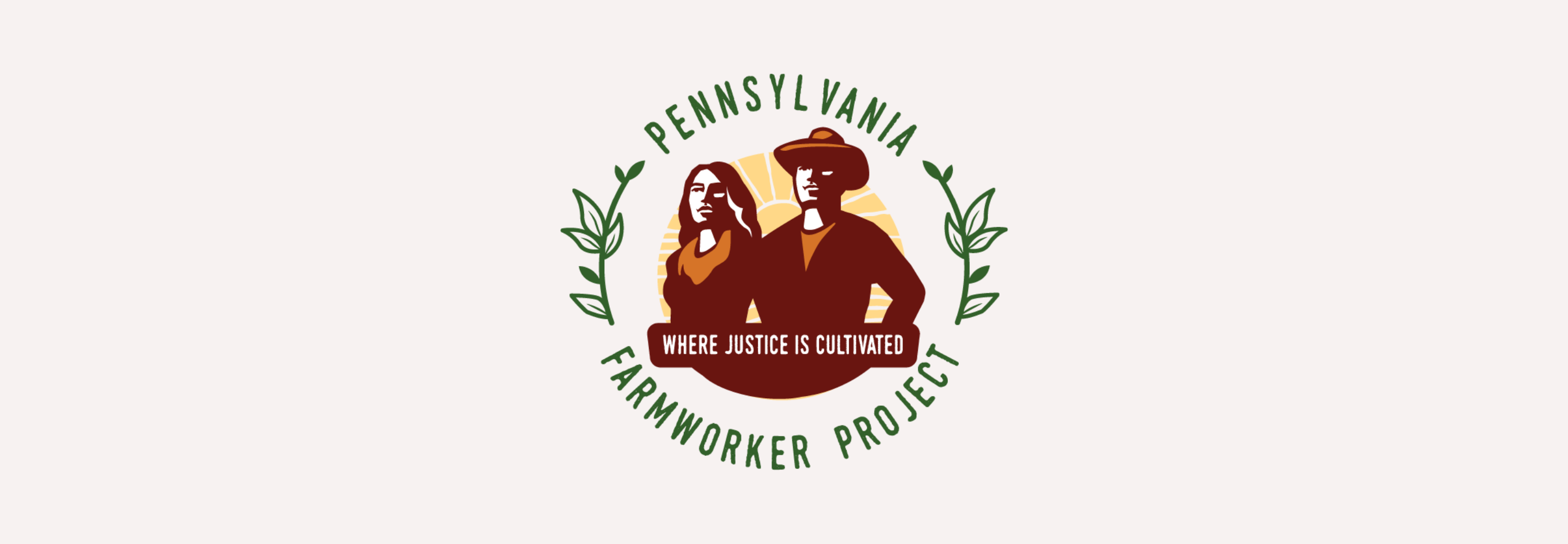 "PFP logo: Two figures in red standing proudly. A banner reads ""Where Justice is Cultivated"""