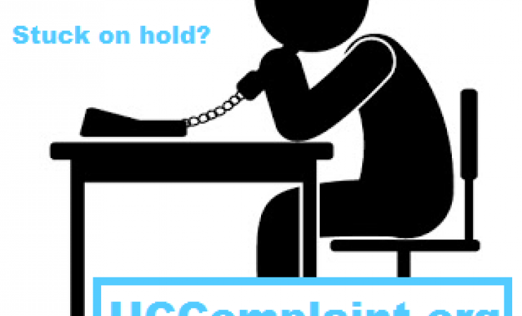 "Black icon of a person on the phone with a white background. Blue text reads ""Not getting past a busy signal?"" ""Stuck on hold?"" UCComplaint.org Get Resources. Share your Story."