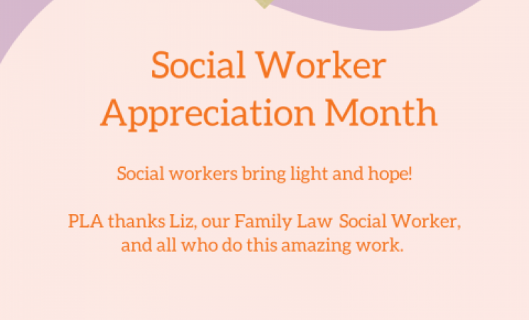 Pink, purple, and orange graphic celebrating Social worker appreciation month