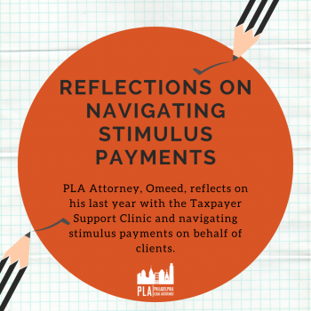 "A graphic image with the text ""Reflections on Navigating Stimulus Payments"" in bold lettering"