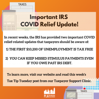 "orange graphic reading ""Important IRS COVID Relief Update!"""