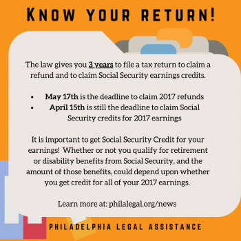 "An orange graphic that says: ""Know Your Return! The law gives you three years to file a tax return to claim a refund and to claim social security earnings credits."""