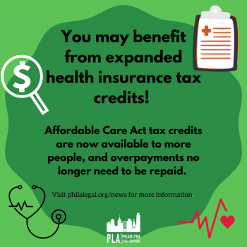 "a graphic reading ""you may benefit from expanded health insurance tax credits"""